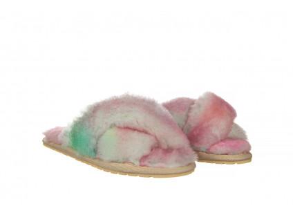 Kapcie Emu Mayberry Tie Dye Fairly Floss 119137, Róż, Futro naturalne