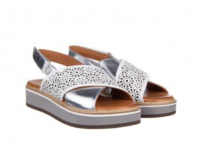 Sandały Bayla-161 105 2014 White Silver 161213, Srebrny/ Biały, Skóra naturalna