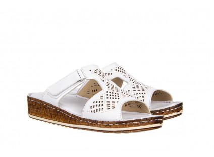 Klapki Bayla-161 016 460 White 161189, Biały, Skóra naturalna