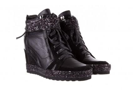Sneakersy Bayla-144 9302 Czarne Sneakersy, Skóra naturalna