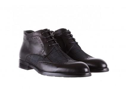 Półbuty Brooman A2001-14-75-1-R Black, Czarny, Skóra naturalna