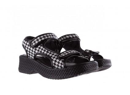 Sandały Azaleia 321 295 Black Plaid, Czarny/ Biały, Materiał