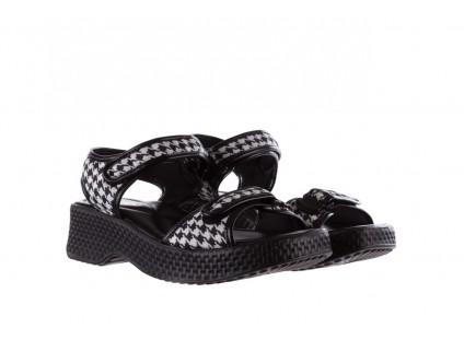 Sandały Azaleia 321 293 Black Plaid, Czarny/ Biały, Materiał