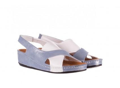 Sandały Bayla-112 0158-30 Biały Niebieski, Skóra naturalna