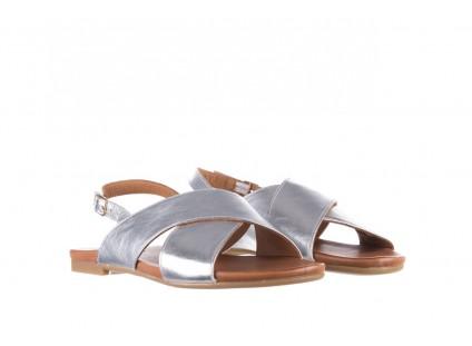 Sandały Bayla-176 8641 Silver, Srebrny, Skóra naturalna