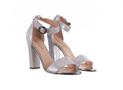 Sandały Bayla-056 8024-1089 Srebrny, Skóra naturalna