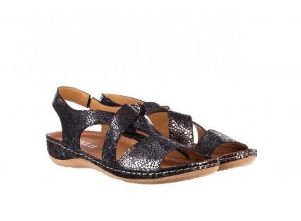 Sandały Bayla-100 449 Czarny Srebrny, Skóra naturalna