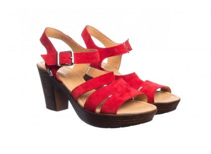 Sandały Bayla-100 505 Czerwony Welur, Skóra naturalna