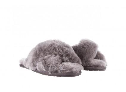 Klapki Emu Mayberry Frost Charcoal, Szary, Futro naturalne