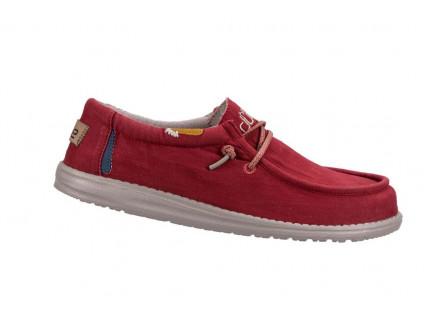 Półbuty HeyDude Wally Washed Molten Lava 003208, Czerwony, Materiał