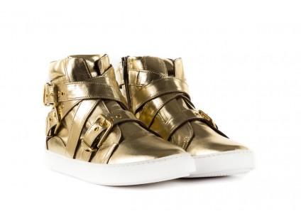 Trampki Bayla-123 5901137 Gold, Złoty, Skóra naturalna