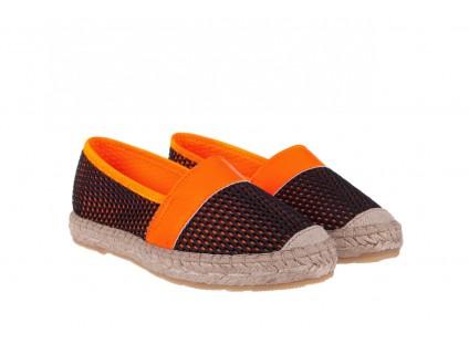 Espadryle Bayla-115 104130 Naranja, Czarny/ Pomarańczowy, Materiał