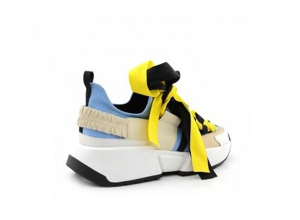 Sneakersy Sca'viola E-17 L-Blue, Niebieskie, Skóra naturalna