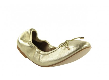 Baleriny Bayla 1611-2 Gold-Beige, Złoty/Beż, Skóra naturalna
