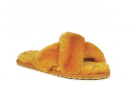 Klapki Emu Mayberry Mustard, Futro naturalne
